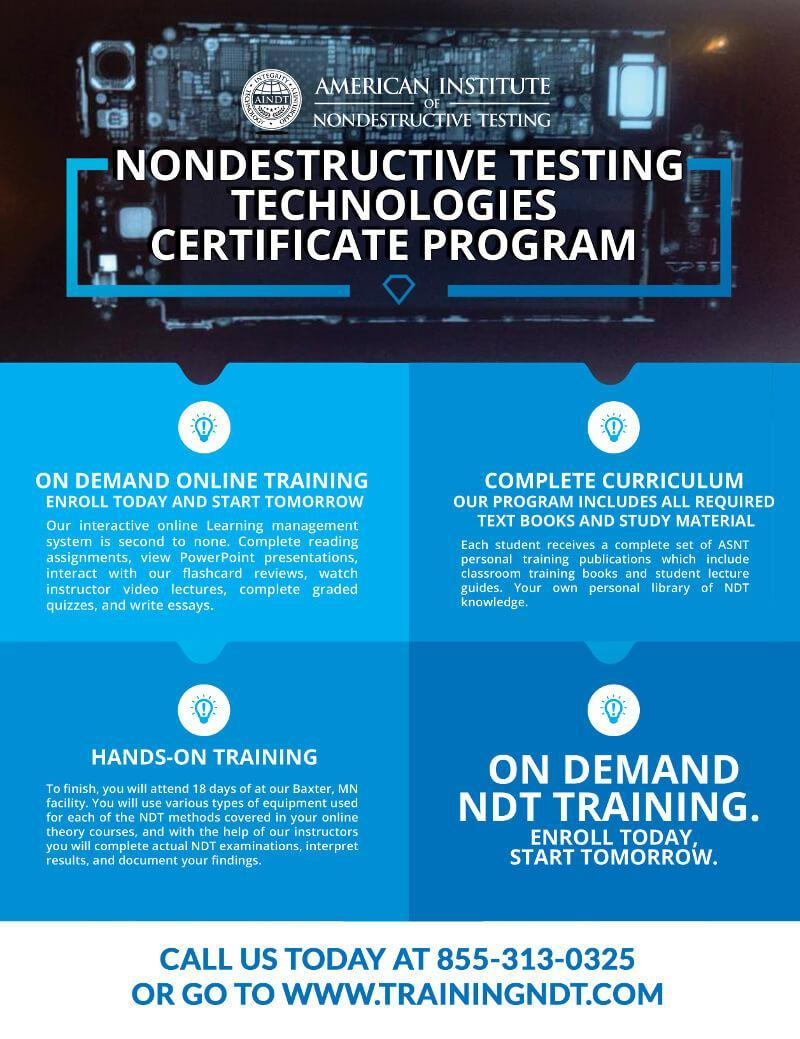 NDT certification training can be achieved online with our NDT certification program