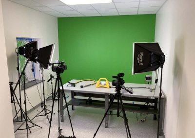 Filming studio with green screen