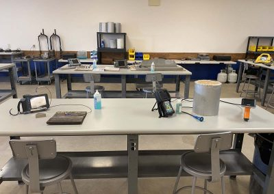 Workshop with testing device stations