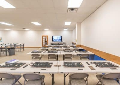 Classroom view with large screen