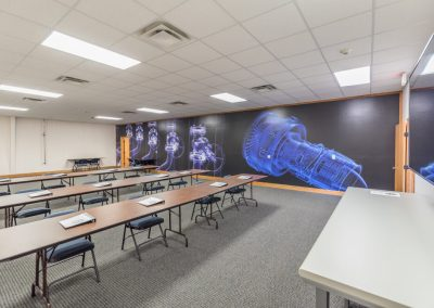 Classroom with technical wall art